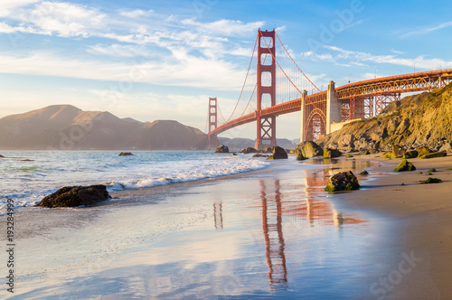 Tuinposter San Francisco Golden Gate Bridge at sunset, San Francisco, California, USA