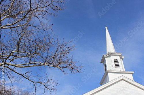 Old white church steeple Fototapeta
