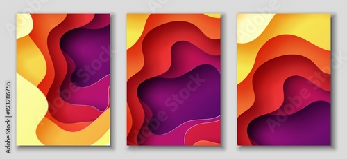 Fotografía  Vertical A4 flyers with 3D abstract background with paper cut shapes