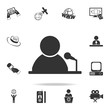 Man standing with podium and microphones icon. Detailed set icons of Media element icon. Premium quality graphic design. One of the collection icons for websites, web design