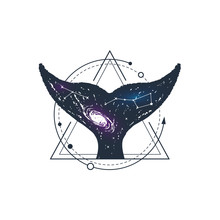 Hand Drawn Space Badge With Whale's Tail Textured Vector Illustration.