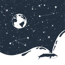 Hand Drawn Space Badge With Universe And A Whale Textured Vector Illustrations.