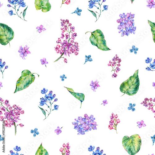 Leinwandbilder - Watercolor spring lilac seamless pattern
