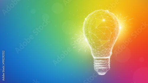 Obraz Polygon idea light bulb on blurred gradient multicolored background. Global cryptocurrency blockchain business banner concept. Lamp symbolize inspiration, innovation, invention, effective thinking. - fototapety do salonu