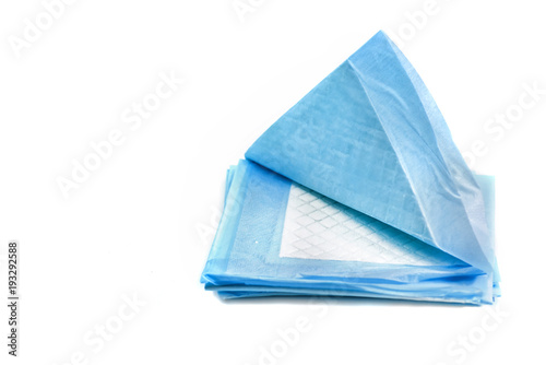 pile of absorbing pads for pets isolated on white Canvas Print