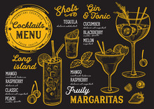 Cocktail Bar Menu. Vector Drin...