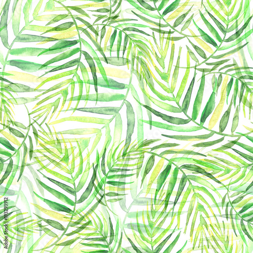 Wall Murals Tropical leaves Seamless watercolor background from green tropical leaves, palm leaf, floral pattern. Bright Rapport for Paper, Textile, Wallpaper, design. Tropical leaves watercolor.