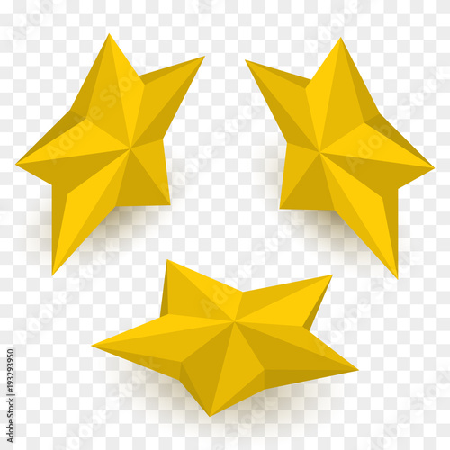 Fototapeta Set of isometric golden stars. Vector template. obraz na płótnie