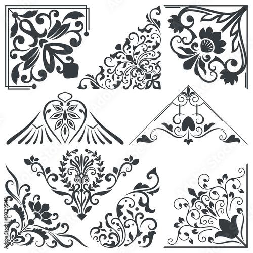 Vintage decorative floral corner design elements - Buy this stock