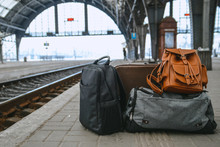 Bags At Railway Station Near Railroad
