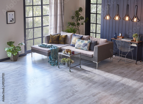 Living Room Blue And Cream Wall Decorative Windows And Grey Armchair