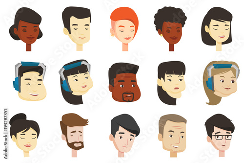Portraits Of Young And Adult Men And Women Avatars Of Caucasian White African And Asian People With Closed Eyes Headphones Glasses Set Of Vector Cartoon Illustrations Isolated On White Background Buy