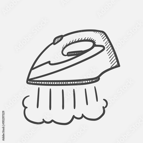 Cuadros en Lienzo Vector hand drawn Modern steam iron outline doodle icon