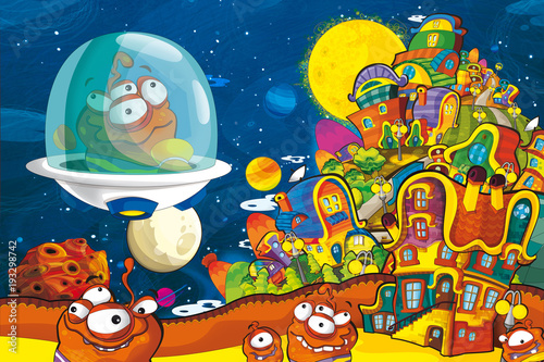 Foto op Canvas Kosmos cartoon scene with some funny looking alien flying in alien machine - white background - illustration for children
