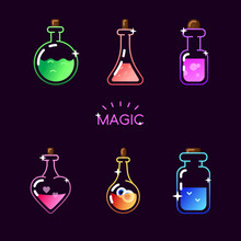 Magic Bottle Icon Set. Vector ...