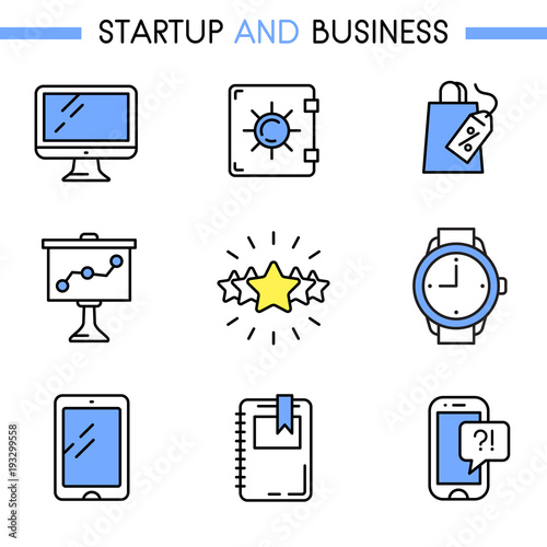 startup and business icon set includes computer safe box sale