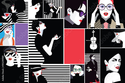 Poster Pop Art Fashion women in style pop art.