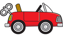 Cartoon Illustration Of A Toy Wind Up Car.