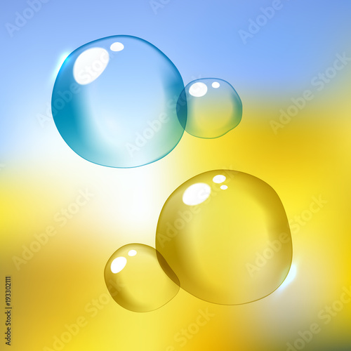 Foto op Canvas Luchtsport Vector illustration of shiny blue and yellow soap bubble with sparkles reflection
