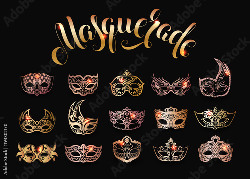Vector collection of gold masquerade masks isolated on black background Canvas Print