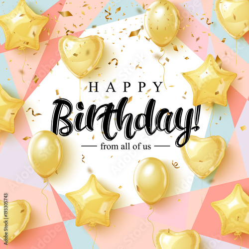 Fotografía Happy Birthday celebration typography design for greeting card, poster or banner with realistic golden balloons and falling confetti