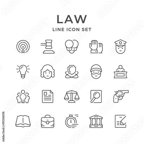 Fotografía  Set line icons of law