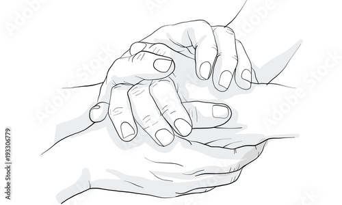 Photo hand holding hand together vector