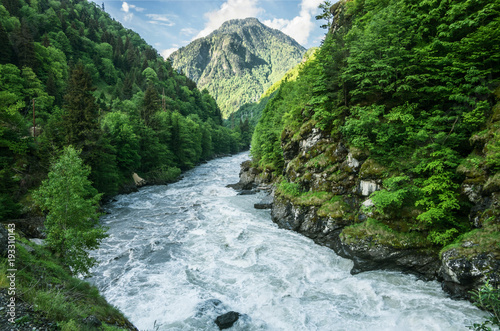 Foto auf Leinwand Fluss The mountain river flows between the woods of rocks. Mountain landscape..