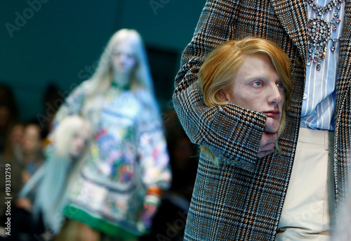 127cb6aca Model presents a creation from the Gucci Autumn/Winter 2018 women collection  during Milan Fashion