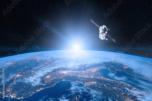 Tuinposter Heelal Blue planet Earth. Spacecraft launch into space. Elements of this image furnished by NASA.
