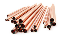 Stack Of Copper Tubes Isolated...
