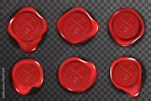 Wax seal stamp red certificate sign transparent background mockup icons set 3d r Fototapeta