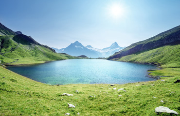 Schreckhorn and Wetterhorn from Bachalpsee lake,Bernese Oberland,Switzerland