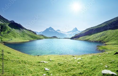 Poster Bergen Schreckhorn and Wetterhorn from Bachalpsee lake,Bernese Oberland,Switzerland