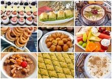 Turkish Desserts Collage; Halka Tatli, Sambali, Asure, Baklava