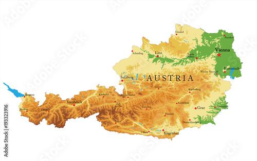 Austria relief map Canvas Print