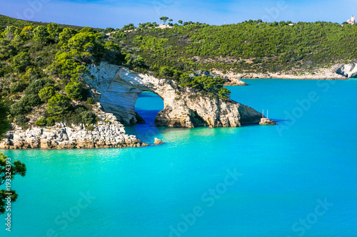 Foto auf AluDibond Blau Italian holidays in Puglia - Natural park Gargano with beautiful turquoise sea