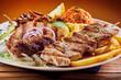 canvas print picture - Greek grill plate with souvlaki and souzuki steak