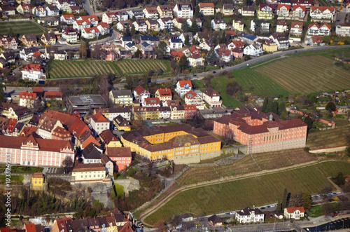 Fototapeta Aerial view of Meersburg and ferry port, Lake Constance, South  Germany in spring obraz na płótnie