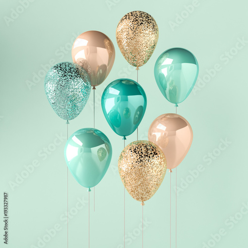 Set of turquoise and golden glossy balloons on the stick with sparkles on blue background. 3D render for birthday, party, wedding or promotion banners or posters. Vibrant and realistic illustration.