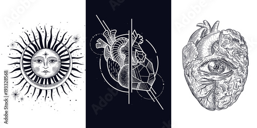 Heart Brain All Seeing Eye Style Of Engraving And