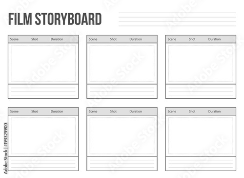 Canvastavla Creative vector illustration of professional film storyboard mockup isolated on transparent background