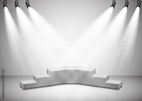 Foto op Canvas Licht, schaduw Vector floodlights. Scene. Light effects. Podium