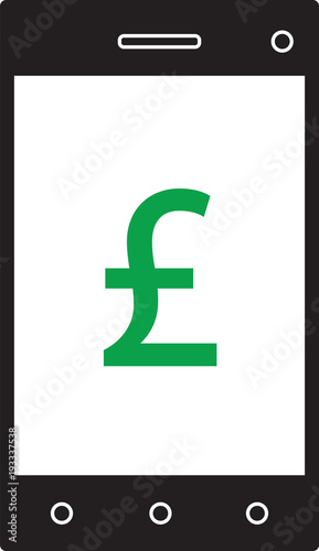 Pound Sterling Currency Icon Or Logo Vector On Cell Mobile Phone Or