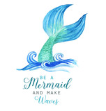 Hand-drawn watercolor beautiful mermaid character illustration. Sea template for poster, card, invitation.