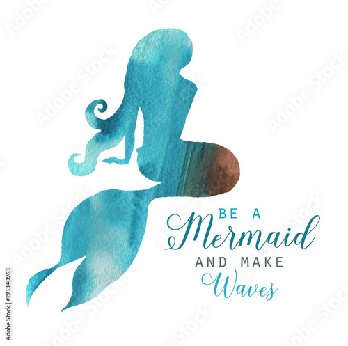 Hand-drawn watercolor beautiful mermaid character illustration. Sea template for poster, card, invitation. Mermaid silhouette
