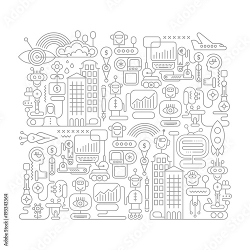 Poster Abstractie Art Robot City doodle line art