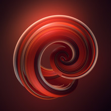 Red Twisted Shape. Computer Generated Abstract Geometric 3D Render Illustration