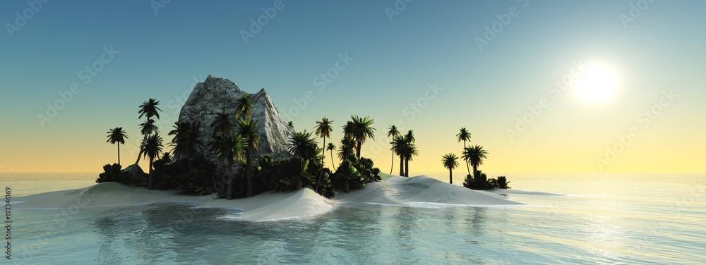 Fototapeta panorama of the sea sunset above the tropical island