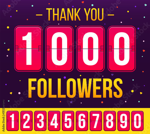 Obraz na plátně Creative vector illustration of 1000 followers subscribers, thank you card banner isolated on transparent background